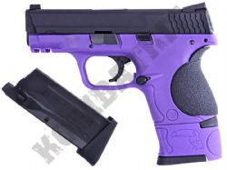 WE Little Bird M&P Gas Blowback Airsoft BB Gun 2 Tone Purple Metal Slide Dual Mag Bundle
